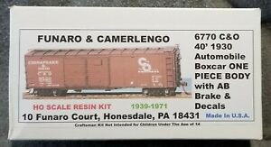 Funaro F&C 6770 CHESAPEAKE OHIO 40' 1930 Auto Automobile Boxcar C&O AB 1-PIECE