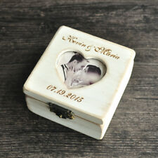 Personalized Wooden Ring Box, Custom Ring Holder Ring Bearer Box W/ Your photo
