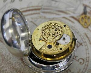 Rare antike Spindel Taschenuhr verge pair case pocket watch Walker N. LONDON