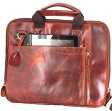 Genuine retro Leather Shoulder Satchel Bag handbag for 11 12 13 14 laptop brown