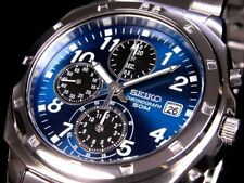 100% Authentic! SEIKO SND193 SND193P Chronograph Blue 50m Men's Watch New Japan