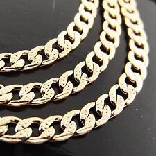 FSA020 18K ROSE G/F GOLD SOLID DIAMOND CUT CURB CUBAN LINK BRACELET BANGLE 20CM