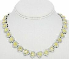 LARGE 22.54CT WHITE & FANCY YELLOW DIAMOND 18K 2 TONE GOLD HEART TENNIS NECKLACE