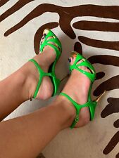 Christian Louboutin Neon Green Patent Strappy Leather Sandals 36 Preowned