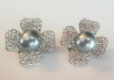 Joan Rivers Gray Pearl Clear Rhinestone Silver tone Clip Earrings