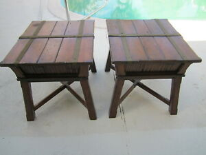Vintage Wood End Table Farmhouse Style Dark Wood  Color Set Of Two