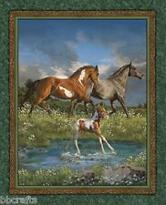 NEW BEAUTIFUL LARGE TWO HORSES AND FOAL FOR QUILTS HOME DECOR & OTHER PROJECT #1