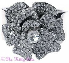 Vintage Moulin Gatsby Heavy Silver Flower Wide Bangle Cuff w/ Swarovski Crystals