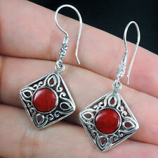 Beautiful RED CORAL & 925 STERLING SILVER Earrings Jewellery