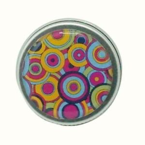 15ML ROUND DECORATIVE TIN GIFT TIN LIP BALM EARRINGS PILLS PSYCHEDELIIC CIRCLES