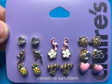 Nine Pairs Of Claire's Tropical Themed Pierced Earrings New