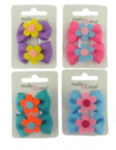 2Pcs Kids Girls Mini Grosgain Hair beak clips with felt flower (cp)  UK