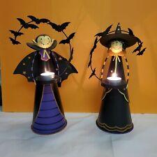 Partylite Halloween Count Batcula & Abracadabra Witch Tealight Holders Euc