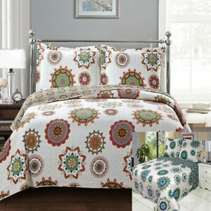 Elegant and Contemporary Printed Julia Reversible Oversize Coverlet Quilted Set