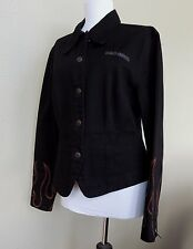 Harley Davidson HD Jacket Black Cotton Womens M Flames Motorcycle Embroidered