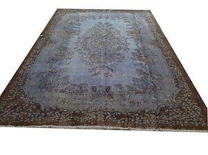 "Vintage  light pale blue   Overdyed rug carpet tapis teppich 8'1"" x 5'5"""