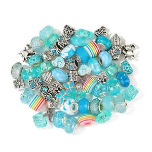 60pcs Silver Acrylic rainbow Alloy Charm Beads Set For Bracelet Necklace Chain
