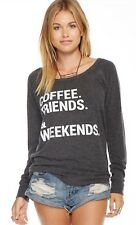 New Chaser COFFEE, FRIENDS,& WEEKENDS Open Back L/S Pullover Top XS S M L