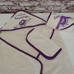 Young Living Embroidered Cream with Purple Trim Baby Hooded Towel Set FREE SHIP