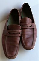 Mens Cole Haan Brown Square Toe Driver Penny Loafers Slip-On Shoes 2 M