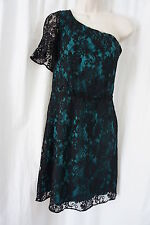 M60 Miss Sixty Dress Sz 10 Green Black Lace Overlay One Shoulder Cocktail Party