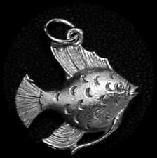 LOOK Flounder Fish Pendant Charm Sterling Silver 925 jewelry