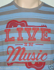 NEW Mens LUCKY BRAND Graphic LIVE IN MUSIC Blue/Gray Stripe S/S T Shirt Large