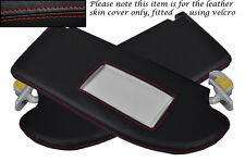 Rojo Stitch encaja Seat Ibiza Mk4 Cordoba 02-08 2x Sol Viseras Cuero cubre sólo