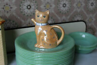 Chinese Lucky Cat Teapot, Vintage Lusterware Mini Teapot Cat with Blue Flowers