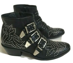 Lemare Studded Ankle Booties Black 3 Buckle sz 37 Leather