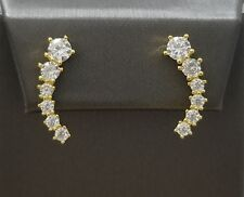 14K Yellow Gold Round Diamond Climber Stud Earrings