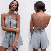 Backless Women Sleeveless Lady Summer Dress Holiday Jumpsuit Beach Playsuit Mini