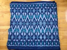 HAND WOVEN NAVY AND AQUA 100% COTTON IKAT FABRIC BY THE YARD