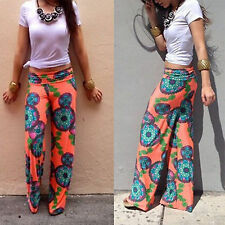 Women Vintage High Waist Wide Leg Long Hippie Harem Pants Loose Palazzo Trousers