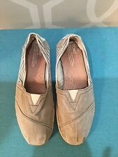 TOMS Gray White Striped Classic Slip On Shoes Size 9.5 Wide Canvas Slip On Shoes