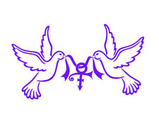 """Prince Rogers Nelson Decal - Doves Carrying Symbol + FREE 5"""" Purple Symbol"""