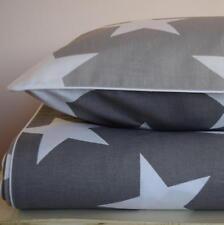 COTTON Children Single bedding Duvet Cover Set Boys Girls Grey Stars reversible