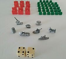 Vintage 1961 Monopoly Game Player Pieces Dice And 12 Hotels 34 Houses