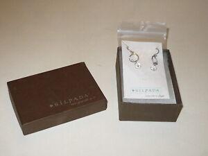SILPADA ORBITING MOON CZ & QUARTZ EARRINGS NEW IN BOX # W2369  *2013 CATALOG