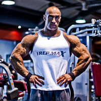Bodybuilding Vest - Mens Ribbed White Top by 1 Rep Max
