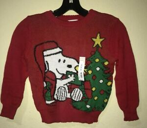 Sz 5T Boys Ugly Christmas Knit Sweater Jumping Beans Peanuts Snoopy Red NWT Y3