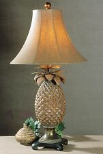 Pineapple Table Lamp Bronze 31H Ostrich Textured Lampshade Traditional