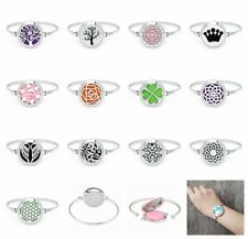 Stainless Steel Aromatherapy Essential Oil Diffuser Locket Bracelet Bangle 10Pad
