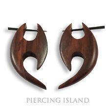 Ohrringe Handarbeit Natur Goa Holz Wood Piercing Design Schmuck ER137