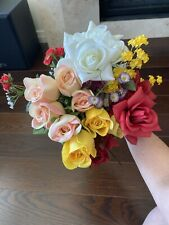 Artificial Silk Flower Variety Pink Yellow Red Roses Purple Lilac Spring Flowers