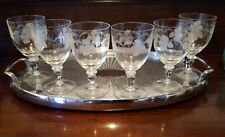 6 Bohemia Crystal Etched Squat Wine Glasses 190mls
