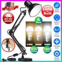 Black Desk Lamp Adjustable Swing Arm 6pack 2700K3000K5000 LED Light Bulbs