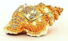 Conch Shell Trinket Box Beautifuly Hand Crafted with Swarovski Crystals & Enamel