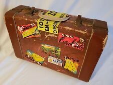 Vintage Retro Suitcase With Souvenir Travel Stickers Collectible Luggage