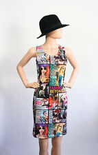 Fashion Magazine Print Body Con Bandage Stretch Party Mini Dress XS Small